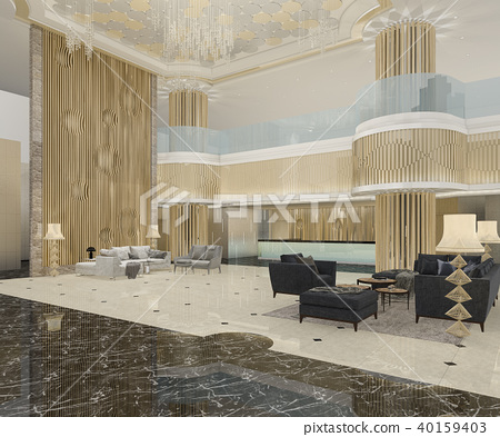 3d rendering luxury hotel reception and lounge 40159403