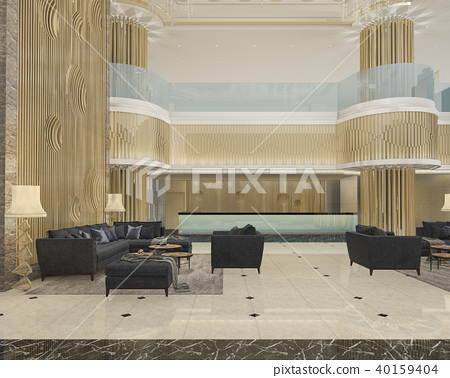 3d rendering luxury hotel reception and lounge 40159404