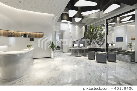 modern luxury hotel reception and lounge 40159406