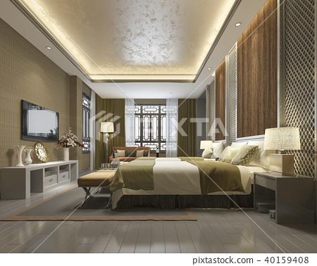 Luxury Chinese Bedroom Suite In Resort Hotel Stock Illustration 40159408 Pixta