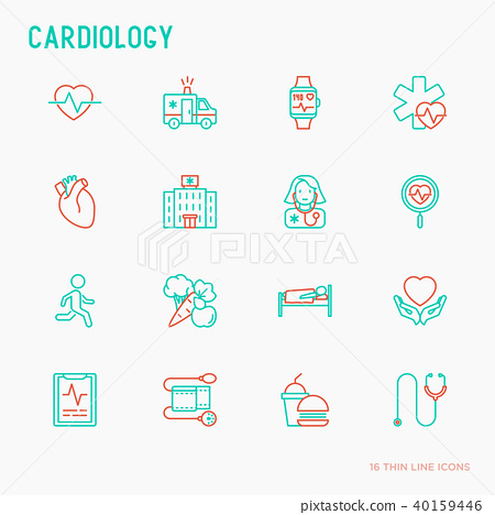 Cardiology thin line icons set 40159446