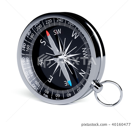 Black chrome compass isolated 40160477