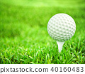 Golf ball on tee ready to play shot 40160483