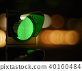 Green traffic light in the dark night city street 40160484