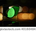 Green traffic light in the dark night city street 40160484