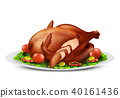Vector roasted turkey or chicken with vegetables 40161436