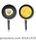 Vector set with two frying pans and fried eggs 40161439