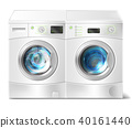 Vector washer and dryer with laundry inside 40161440