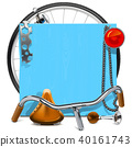 Vector Blue Wooden Board with Bicycle Spares 40161743