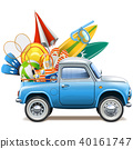 Vector Pickup Truck with Beach Accessories 40161747