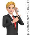 3D Illustration - Businessman talking on smartphone 40163214