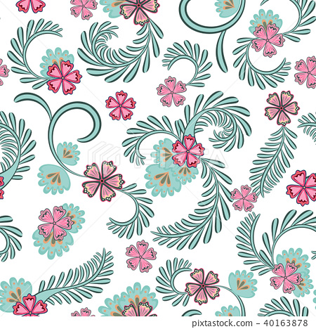 A simple floral pattern, convenient for editing and repainting. Graceful floral blue pink pattern on 40163878