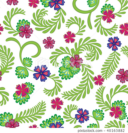 A simple floral pattern, convenient for editing and repainting. Graceful green pink floral pattern 40163882