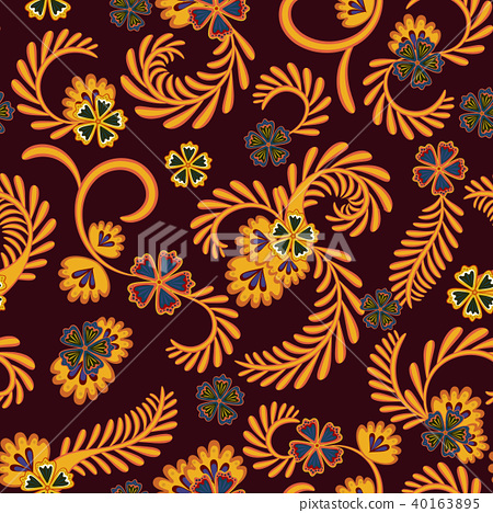 A simple floral pattern, convenient for editing and repainting. Graceful floral orange vinous 40163895