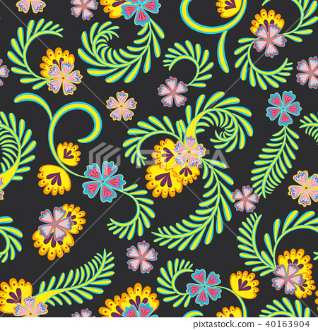 A simple floral pattern, convenient for editing and repainting. Graceful floral yellow green pattern 40163904