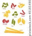 Pasta set. type of pasta hand draw sketch vector. 40165490
