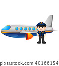 Pilot and airplane on white background 40166154