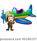 Pilot and jet plane on white background 40166157