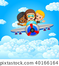 funny boy riding on a blue sky background 40166164