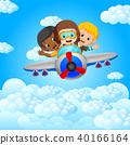 funny boy riding on a blue sky background 40166164