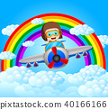 funny pilot riding plane with rainbow scenery 40166166
