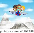 three boy riding a plane over mountain 40166180