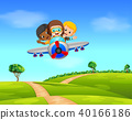 Three boy flying a plane 40166186