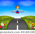 young boy riding a plane on a beautiful scene 40166188