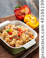 Fried rice with vegetables and pork, Asian cuisine 40166199