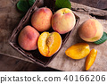 Ripe peaches in a basket, tropical fruit 40166206