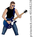 Guitar player with blue electric guitar 40166228