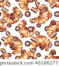 Chocolate and croissants. Seamless pattern 1 40166277