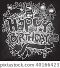 Birthday party hand drawn doodles elements  40166423