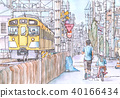Yellow train and parent and child 40166434