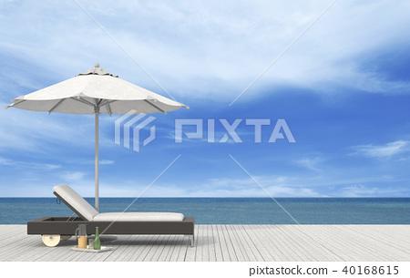 the beach lounge - sundeck on sea. 3D render 40168615