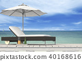 the beach lounge - sundeck on sea. 3D render 40168616