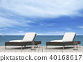 the beach lounge - sundeck on sea. 3D render 40168617