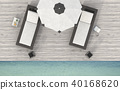 the beach lounge - sundeck on sea. 3D render 40168620