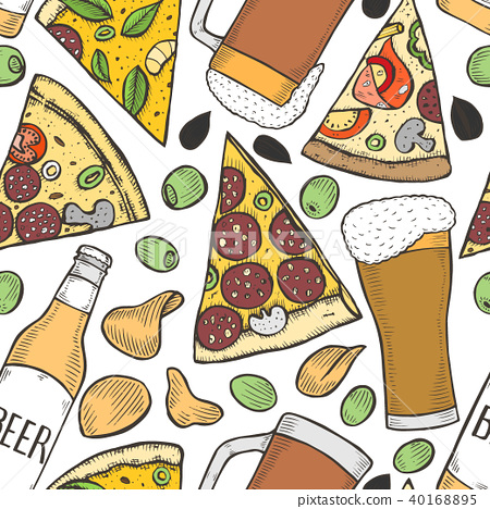 background of beer and pizza 40168895