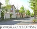 Fresh green city lined with houses 40169542