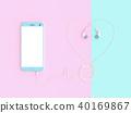 smartphone and earphones pink color 40169867