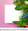 Tropical leaves with white frame paper for text on 40169960