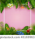 Tropical leaves and flowers with empty frame squar 40169963