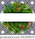 Green summer with tropical leaves and flowers 40169975