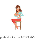 Young mother sitting on a chair and breastfeeding her baby vector Illustration on a white background 40174565