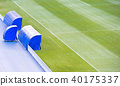 Football soccer field with coach bench 40175337