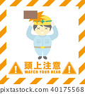 Overhead Warning Construction site safety sign 40175568