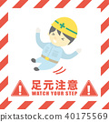 Footstep caution Safety sign on construction site 40175569