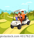 Happy Family with Golf Clubs goes by Golf Car. 40176216