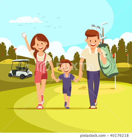 Happy Couple With Golf Clubs Leading Son 40176218